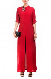Indian Fashion Designers - Anushree Agarwal - Contemporary Indian Designer - Ox Blood Long Length Tunic - ANUA-AW16-AWT2262