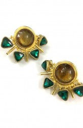 Indian Fashion Designers - Artsie Ville - Contemporary Indian Designer - Green Lenna I Earrings - ARV-SS17-AVE044