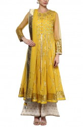 Indian Fashion Designers - Devnaagri - Contemporary Indian Designer - Stylish Mustard Anarkali - DEV-AW16-HS-91