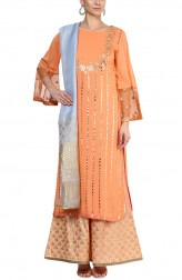 Indian Fashion Designers - Devnaagri - Contemporary Indian Designer - Stylish Peach Tunic Set - DEV-AW16-HS-93