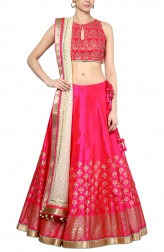 Indian Fashion Designers - Devnaagri - Contemporary Indian Designer - Stunning Fuchsia Lehenga - DEV-AW16-LN-29
