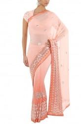 Indian Fashion Designers - Devnaagri - Contemporary Indian Designer - Peach Gota Patti Saree - DEV-AW16-S-70