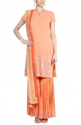 Indian Fashion Designers - Devnaagri - Contemporary Indian Designer - Orange Gota Patti Sharara - DEV-AW16-SH-12