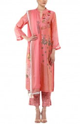 Indian Fashion Designers - Devnaagri - Contemporary Indian Designer - Pink Chanderi Kurta With Printed Palazzo Set - DEV-SS17-A-455