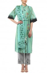 Indian Fashion Designers - Devnaagri - Contemporary Indian Designer - Aqua Chanderi Kurta With Printed Palazzo Set - DEV-SS17-A-456
