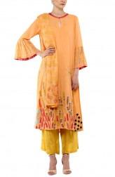 Indian Fashion Designers - Devnaagri - Contemporary Indian Designer - Orange Cotton Kurta With Shantoon Palazzo Set - DEV-SS17-A-458