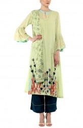 Indian Fashion Designers - Devnaagri - Contemporary Indian Designer - Green Cotton Kurta With Shantoon Palazzo Set - DEV-SS17-A-458A
