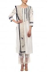 Indian Fashion Designers - Devnaagri - Contemporary Indian Designer - White Kurta with Shantoon Slim Pant - DEV-SS17-A-463