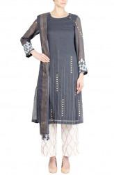 Indian Fashion Designers - Devnaagri - Contemporary Indian Designer - Dark Grey Kota Kurta Set - DEV-SS17-A434