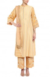 Indian Fashion Designers - Devnaagri - Contemporary Indian Designer - Caramel Chanderi Kurta With Palazzo Pant - DEV-SS17-A442