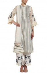 Indian Fashion Designers - Devnaagri - Contemporary Indian Designer - Off White Chanderi Kurta With Palazzo Pant - DEV-SS17-A442B