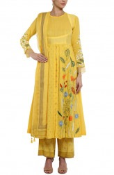 Indian Fashion Designers - Devnaagri - Contemporary Indian Designer - Yellow Anarkali With Palazzo Pant - DEV-SS17-A444