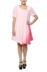 Indian Fashion Designers - Diya Mehta - Contemporary Indian Designer - Hand Dyed Pink Shaded Dress - DM-SS17-DIMA52-04