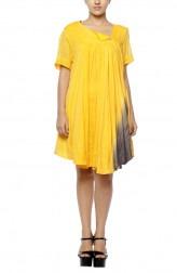 Indian Fashion Designers - Diya Mehta - Contemporary Indian Designer - Hand Dyed Yellow Shaded Dress - DM-SS17-DIMA52-05