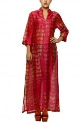 Indian Fashion Designers - Diya Mehta - Contemporary Indian Designer - Pink Green Slited Kurta - DM-SS17-DIMA61-01