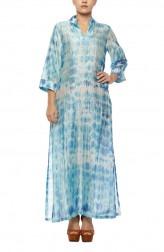 Indian Fashion Designers - Diya Mehta - Contemporary Indian Designer - Blue White Slited Kurta - DM-SS17-DIMA61-04