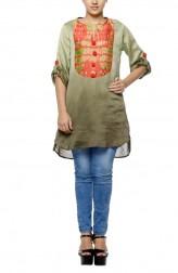Indian Fashion Designers - Diya Mehta - Contemporary Indian Designer - Olive Shaded Waterfall Print Tunic - DM-SS17-DIMA66-01