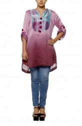 Indian Fashion Designers - Diya Mehta - Contemporary Indian Designer - Wine Shaded Waterfall Print Tunic - DM-SS17-DIMA66-03