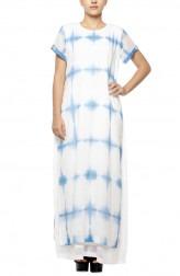 Indian Fashion Designers - Diya Mehta - Contemporary Indian Designer - White Blue Peeping Tom Dress - DM-SS17-DIMA67-01