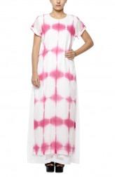 Indian Fashion Designers - Diya Mehta - Contemporary Indian Designer - White Pink Peeping Tom Dress - DM-SS17-DIMA67-02