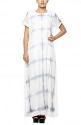Indian Fashion Designers - Diya Mehta - Contemporary Indian Designer - White Grey Peeping Tom Dress - DM-SS17-DIMA67-03