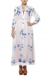 Indian Fashion Designers - Diya Mehta - Contemporary Indian Designer - Blue and White Underlay Long Dress - DM-SS17-DIMA68-03