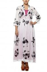 Indian Fashion Designers - Diya Mehta - Contemporary Indian Designer - Black and White Underlay Long Dress - DM-SS17-DIMA68-04
