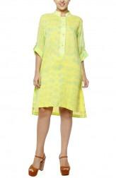 Indian Fashion Designers - Diya Mehta - Contemporary Indian Designer - Yellow and Green Shirt Dress - DM-SS17-DIMA72-03