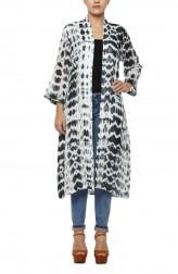 Indian Fashion Designers - Diya Mehta - Contemporary Indian Designer - White Black Cotton Mul Jacket - DM-SS17-DIMA76-01