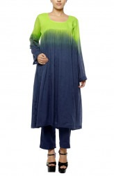 Indian Fashion Designers - Diya Mehta - Contemporary Indian Designer - Green and Navy Blue Shaded Mid Length Tunic Set - DM-SS17-DIMA83-01