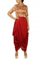 Indian Fashion Designers - Kakandora - Contemporary Indian Designer - Red Dhoti Dress - KAK-AW16-KAKDH01