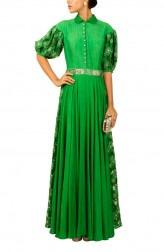 Indian Fashion Designers - Kakandora - Contemporary Indian Designer - Collared Ballon Gown - KAK-AW16-KAKNR01