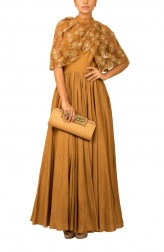 Indian Fashion Designers - Kakandora - Contemporary Indian Designer - Brown Long Flared Gown - KAK-AW16-KAKNR02