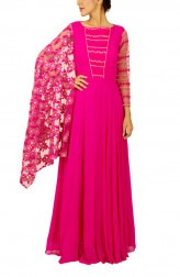 Indian Fashion Designers - Kakandora - Contemporary Indian Designer - Hot Pink Long Flared Gown - KAK-AW16-KAKNR03