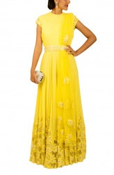 Indian Fashion Designers - Kakandora - Contemporary Indian Designer - Yellow Long Flared Dress - KAK-AW16-KAKNR04
