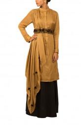 Indian Fashion Designers - Kakandora - Contemporary Indian Designer - Draped Salwar Suit - KAK-AW16-KAKPF006
