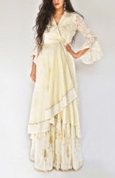 Indian Fashion Designers - Kikis Crafted by Swasti - Contemporary Indian Designer - Off White Wrap Around Tunic Set - KIK-SS17-KC01