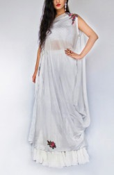 Indian Fashion Designers - Kikis Crafted by Swasti - Contemporary Indian Designer - Cotton Silk Off Shoulder Dress - KIK-SS17-KC03