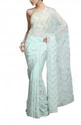 Indian Fashion Designers - Kyra - Contemporary Indian Designer - Zig-Zagged Saree - KYA-AW16-KA015