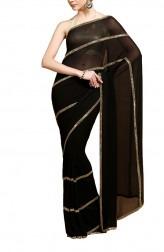 Indian Fashion Designers - Kyra - Contemporary Indian Designer - Enchantress Black Saree - KYA-AW16-KB006