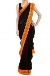 Indian Fashion Designers - Kyra - Contemporary Indian Designer - Blingy Black Saree - KYA-AW16-KB032