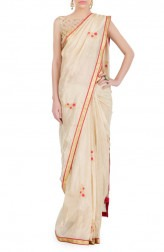 Indian Fashion Designers - Kyra - Contemporary Indian Designer - Rose Gold Saree - KYA-AW16-KG019
