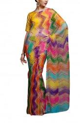 Indian Fashion Designers - Kyra - Contemporary Indian Designer - Vibrant Melodrama Saree - KYA-AW16-KM016