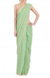 Indian Fashion Designers - Kyra - Contemporary Indian Designer - Minty Treat Saree - KYA-AW16-KM028