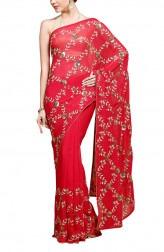 Indian Fashion Designers - Kyra - Contemporary Indian Designer - Floral Trellis Saree - KYA-AW16-KR001