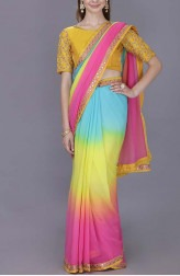 Indian Fashion Designers - Kyra - Contemporary Indian Designer - Kaleidoscope Saree - KYA-AW18-KCMS13