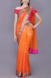 Indian Fashion Designers - Kyra - Contemporary Indian Designer - Gold Tangreine Saree - KYA-AW18-KCOS14