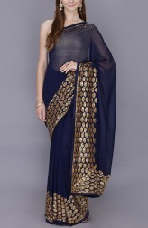 Indian Fashion Designers - Kyra - Contemporary Indian Designer - Bewitching Blue Saree - KYA-AW18-KGBS02
