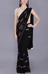 Indian Fashion Designers - Kyra - Contemporary Indian Designer - Ebony Dazzle Saree - KYA-AW18-KGBS03