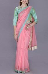 Indian Fashion Designers - Kyra - Contemporary Indian Designer - Pink Rosa Saree - KYA-AW18-KVPS15